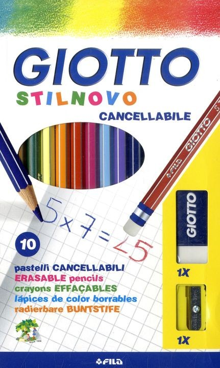 Карандаши цветные 10 цв Giotto Stilnovo Cancellab + ластик + точилка