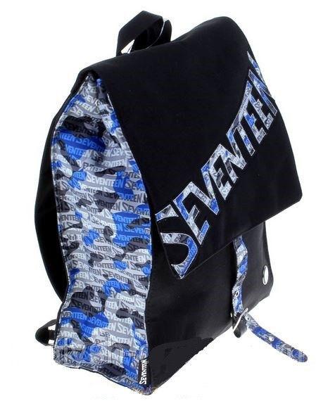 Рюкзак Seventeen черный узкий с серо-голубым ремешком