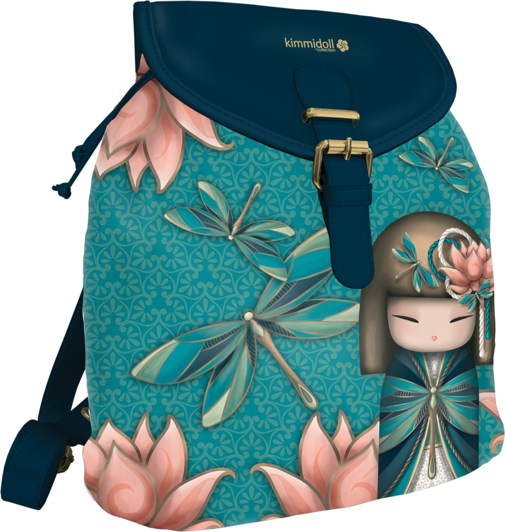 Рюкзак Kimmidoll цветной с синими вставками из кож/зама