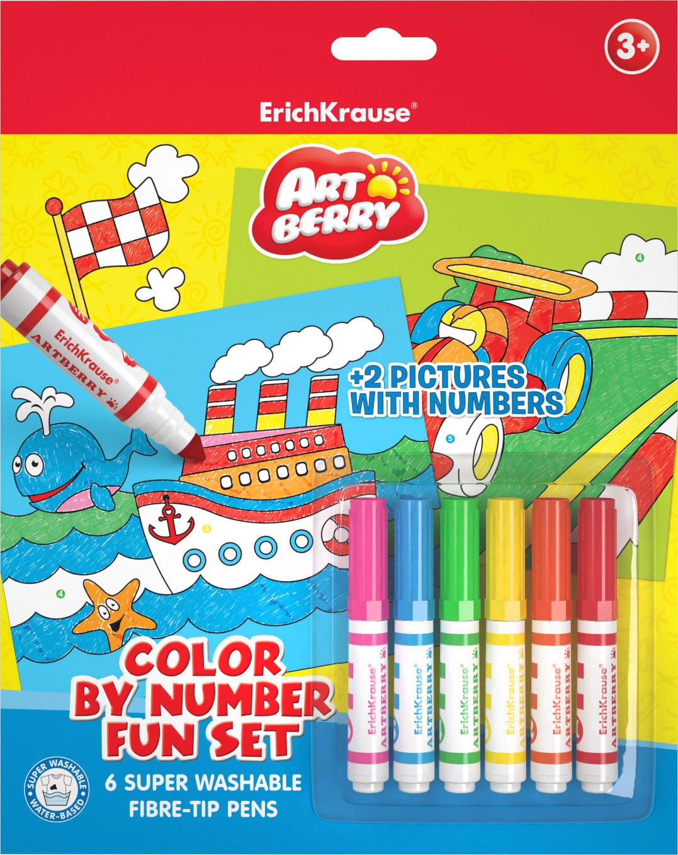 Фломастеры 6 цв ArtBerry + 2 раскраски по номерам