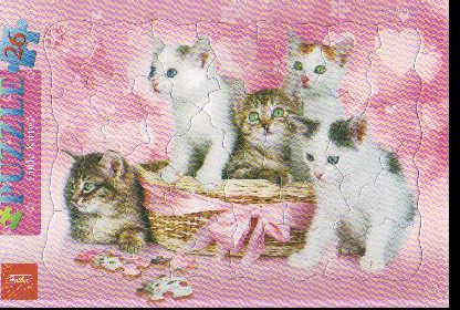 Пазл 26 Котята в корзинке в рамке