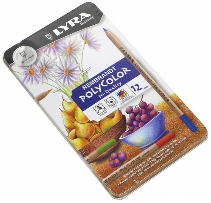 Карандаши цветные 12 цв Lyra Polycolor худ. с эфф. масл паст. мет/уп