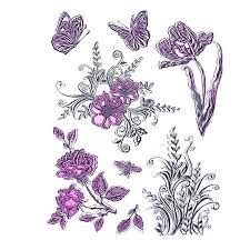 Штамп силикон 14*18 Цветы и бабочки