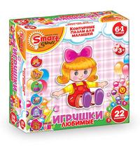 АКЦИЯ19 Пазл-контур 6в1 Любимые игрушки 22 эл