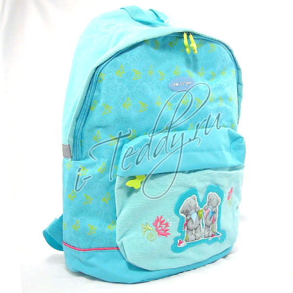 Рюкзак подростковый MTY  вельветовый 1отд. 1 карман,голубой