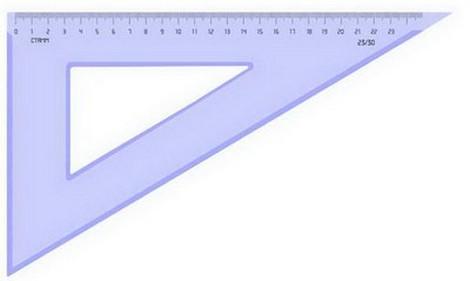 Треугольник пластик. 23см 30гр цветной проз.