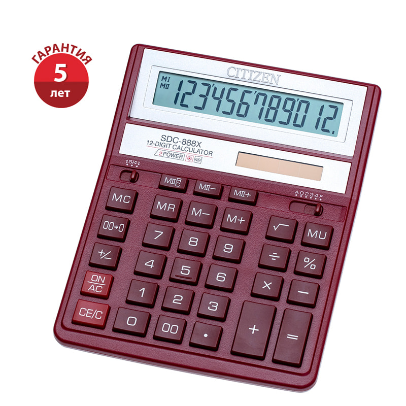 Калькулятор 12 разр. CITIZEN красный