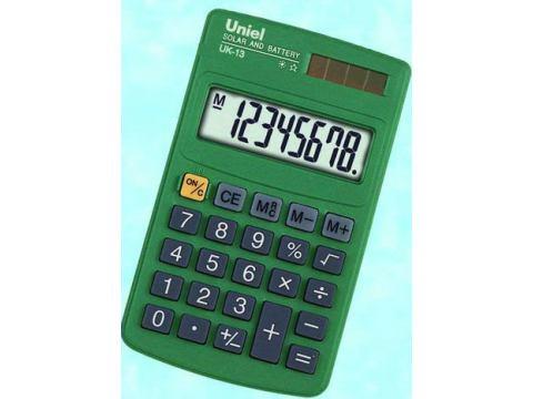 Калькулятор 8 разр. Uniel карманный зеленый