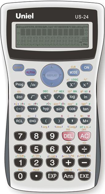 Калькулятор научный 10+2 разр. Uniel 279 функций серый