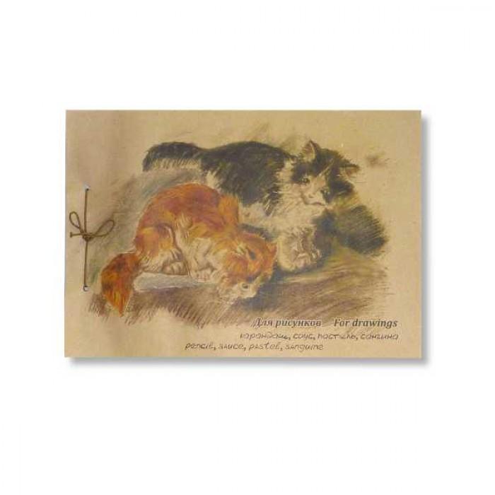 Альбом д/эскизов А3 40л Котята крафт-бумага, на завязках с подложкой