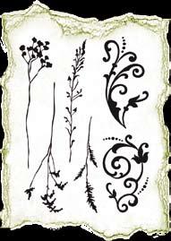 Штамп силикон Трава и цветочные украшения