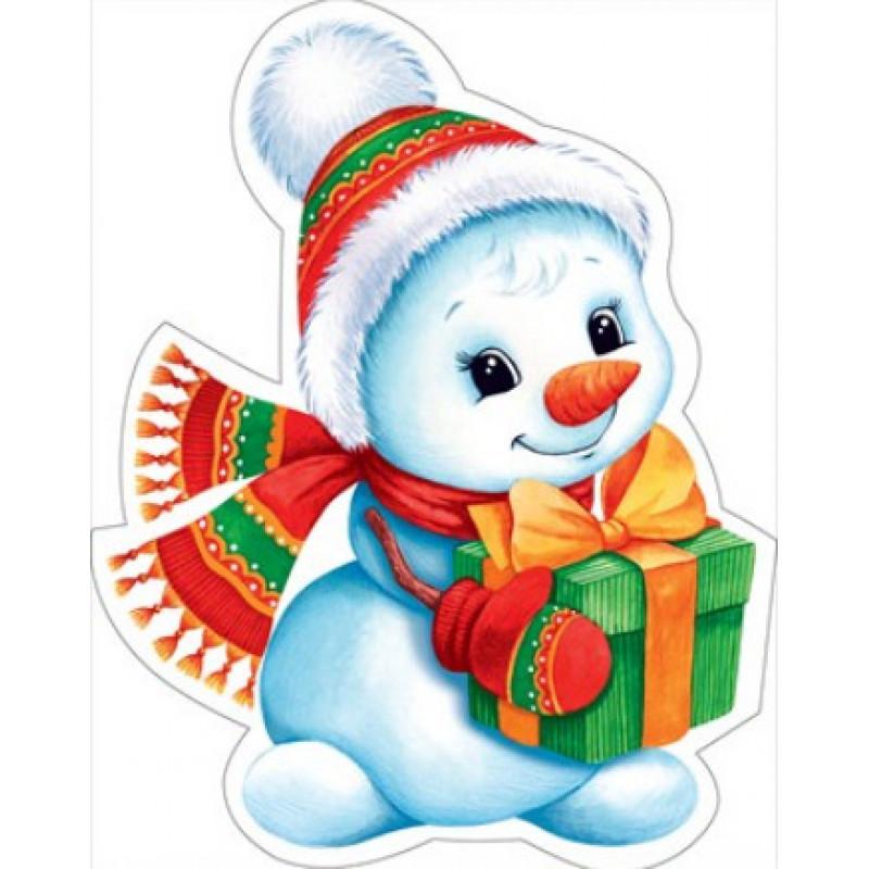 Украшение на двустор. скотче 88.466 Новогоднее! снеговик с подарком