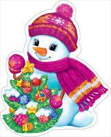 Украшение на двустор. скотче 88.459 Новогоднее! снеговик с елкой