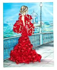Творч Мозаика из пайеток на холсте 30*40 Девушка в красном