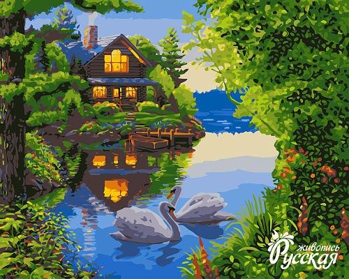 Творч Рисование по номерам 40Х50 Дом у озера