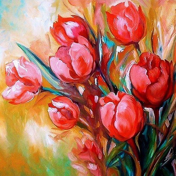 Алмазная картина 30*30 Букет тюльпанов