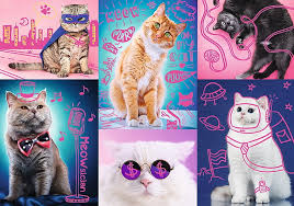 Пазл 1000 Trefl 10581 Супер кошки, неон