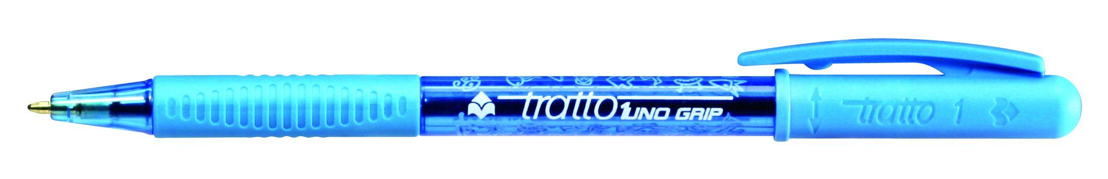 Ручка шариковая Tratto 1 Grip голубая поворотная резин. держат.