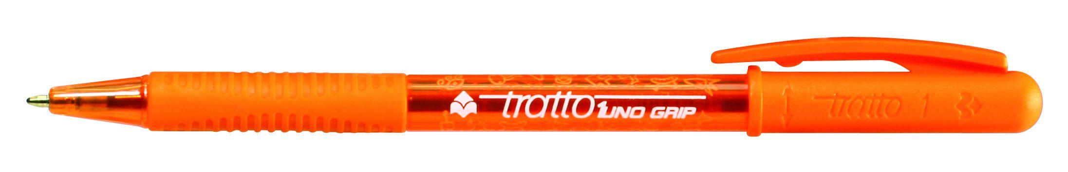 Ручка шариковая Tratto 1 Grip оранжевая поворотная резин. держат.