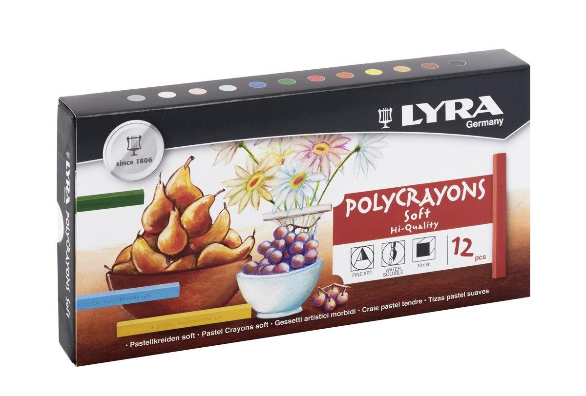Пастель сухая 12цв Lyra Polycrayons soft квадратная
