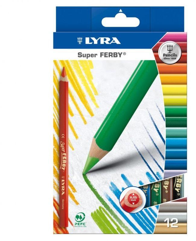 Карандаши цветные 12 цв Lyra Super Ferby (треуг. корпус толстые)