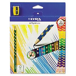 Карандаши цветные 24 цв Lyra Groove slim (эргономич. корпус) + точилка