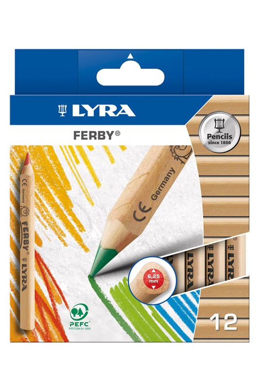 Карандаши цветные 12 цв Lyra Ferby к/к (треуг. корпус, толстый)