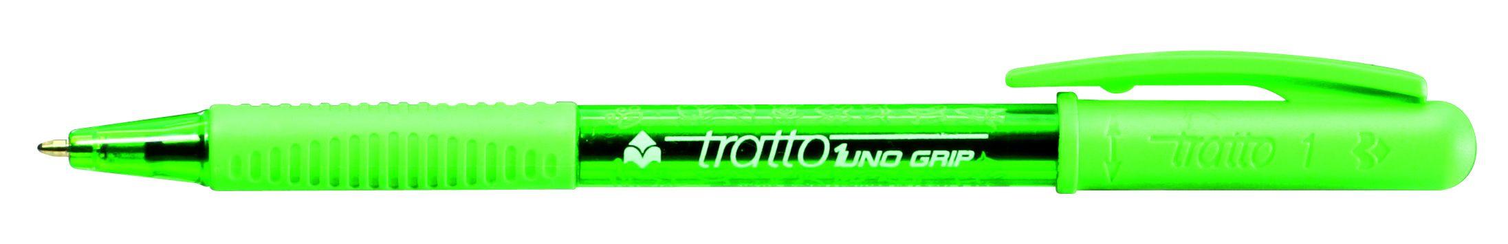 Ручка шариковая Tratto 1 Grip салатовая поворотная резин. держат.