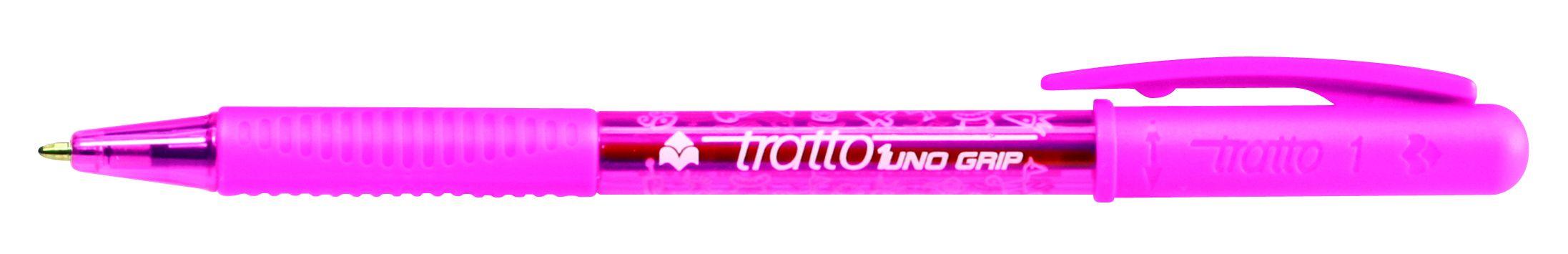 Ручка шариковая Tratto 1 Grip розовая поворотная резин. держат.