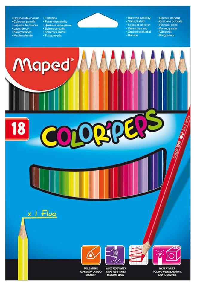 Карандаши цветные 18 цв Maped Color Peps трехгран к/к