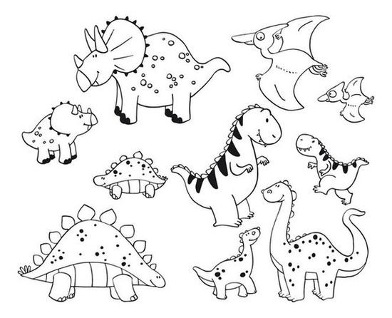 10 штампиков Стампоминос Динозавры. Большие и маленьки