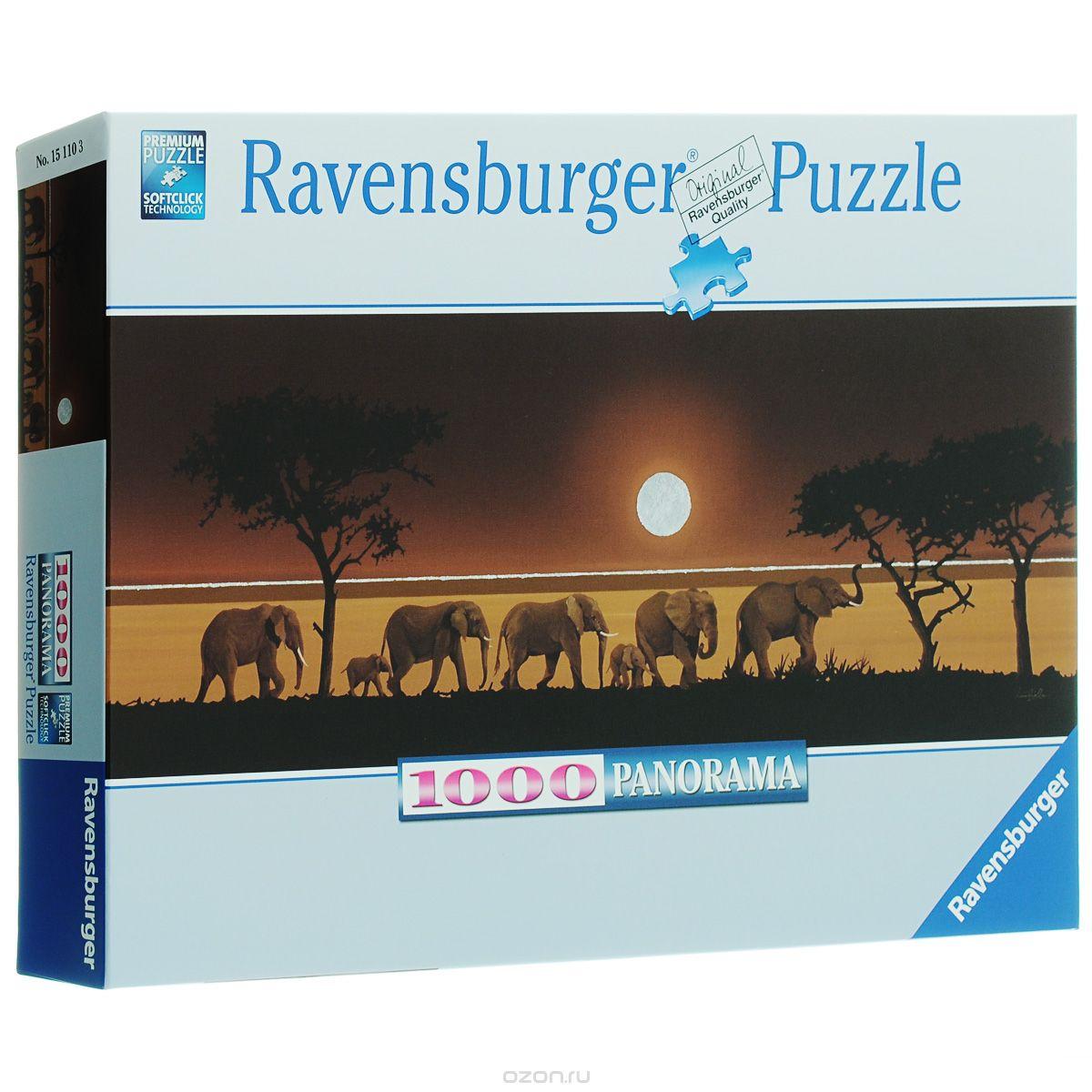 АКЦИЯ19 Пазл 1000 Ravensburger 151103 Слоны в Сахаре (панорама)