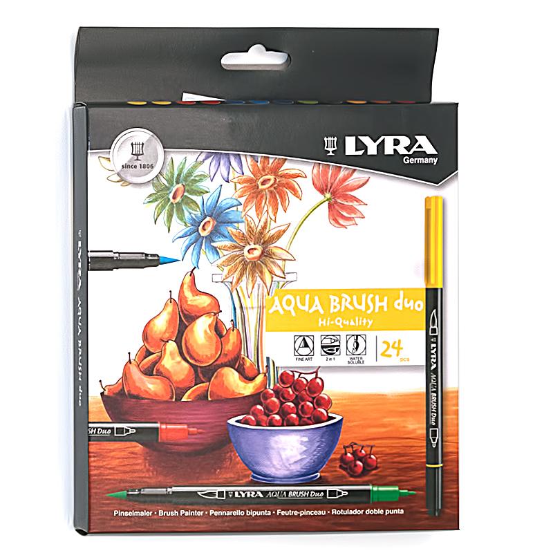 Фломастеры акварельные 24 цв Lyra Aqua Brush Duo двойные