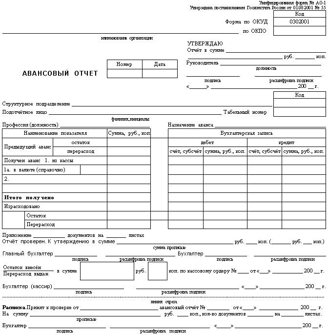 Бланк Авансовый отчет (форма АО-1)