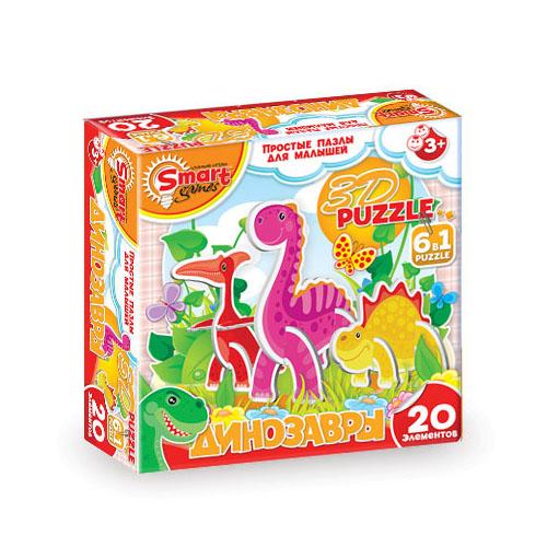 АКЦИЯ19 Пазл 20 Динозавры 3D