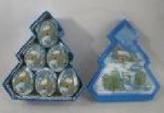 НГ Шары 6шт/уп 7,5см в крошке голубые с рисунком подар. коробка-елка