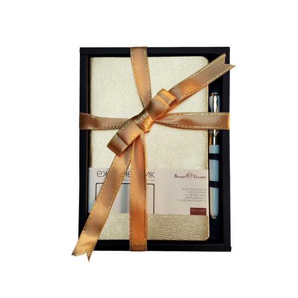 Набор подар BV Megapolis flex золото ежедневник А5 + ручка
