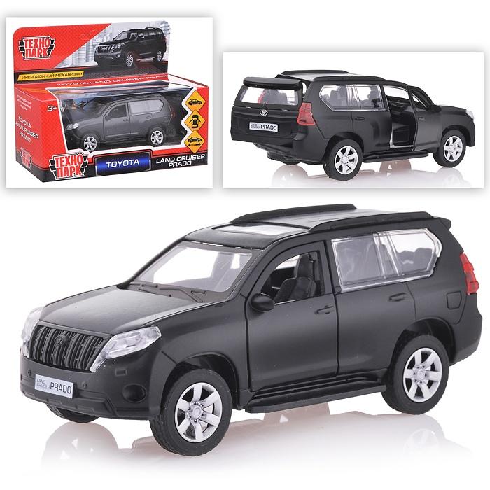 Машина Toyota Prado матовая черная, 12см, открыв. двери, инерц. металл