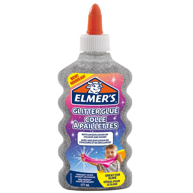 Клей д/слаймов Elmers Glitter Glue 177мл серебряный с блестками