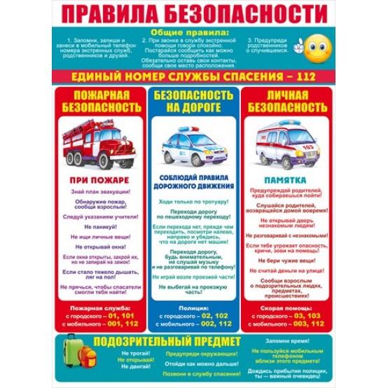 Плакат Правила безопасности А2 вертик смайл