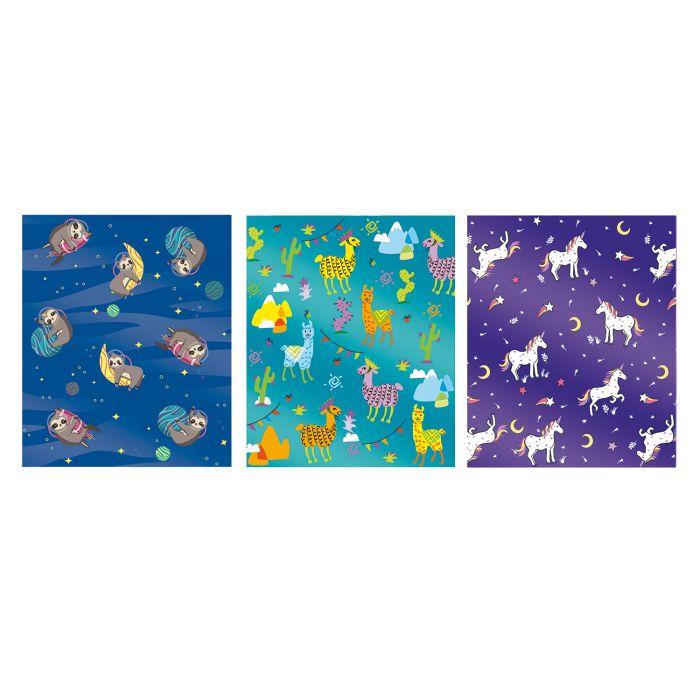Обложка 3шт Зверята (Единороги) голографич. для тетрадей
