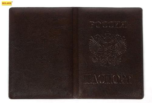 Обложка для паспорта Miland экокожа Коричневая Стандарт