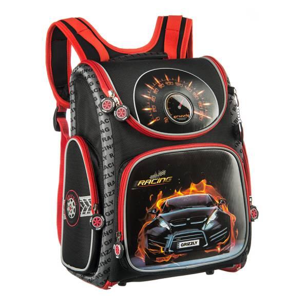 Ранец Grizzly Огненное авто (черный - серый)