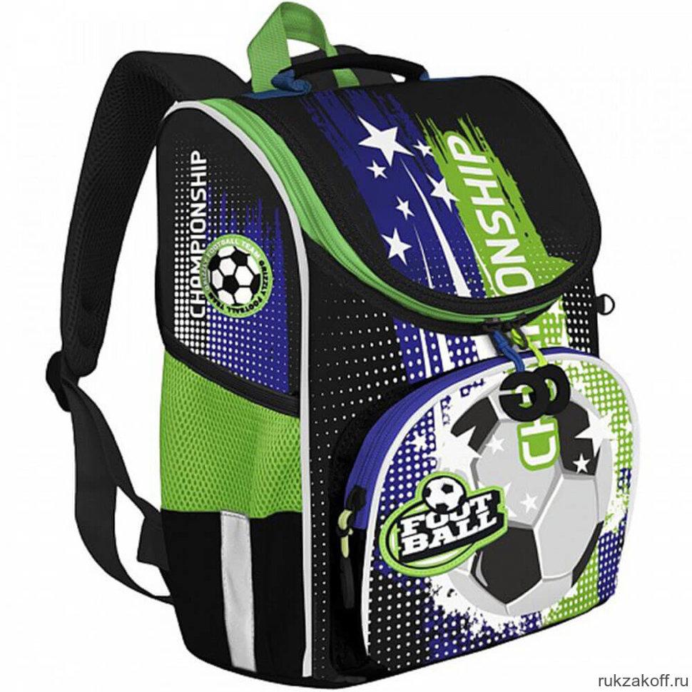 Ранец Grizzly Футбол с мешком (синий - зеленый)