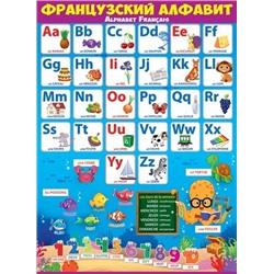 Плакат Французский алфавит А2 вертик подводный мир