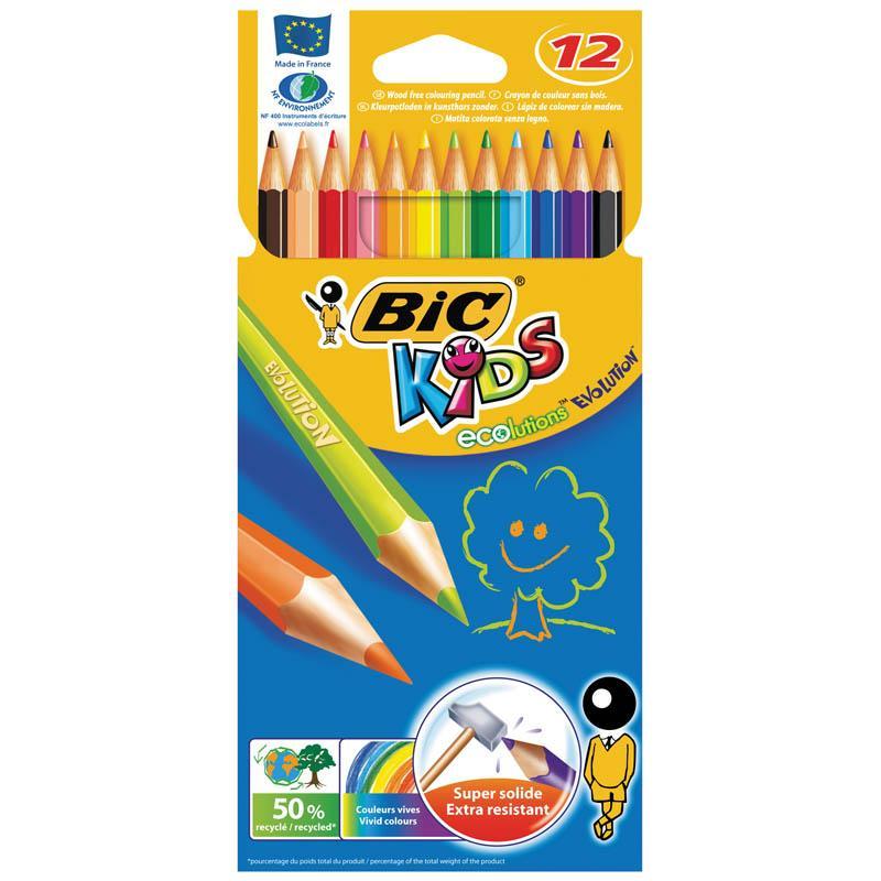 Карандаши цветные 12 цв пластик Bic Evolution 93
