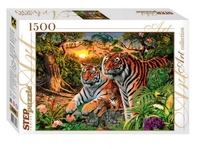 Пазл 1500 Step Сколько тигров?