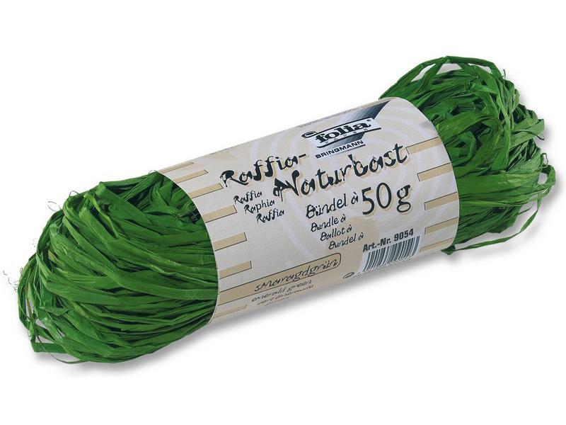 Рафия натуральная изумрудная 50гр