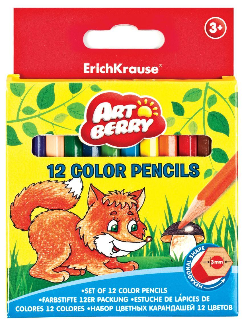 Карандаши цветные 12 цв EK Artberry короткие к/к