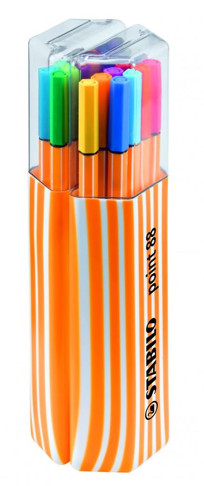 Ручки капиллярные 20 цв Stabilo двойной пенал